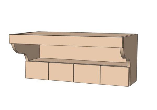 Полка 80Верх ящики